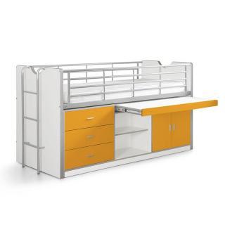 Lit combiné KYLE blanc/orange avec bureau coulissant