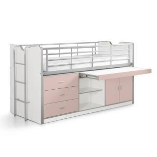 Lit combiné KYLE blanc/rose clair avec bureau coulissant