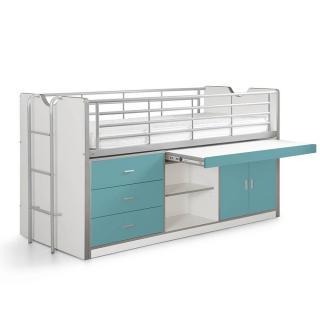 Lit combiné KYLE blanc/bleu turquoise avec bureau coulissant