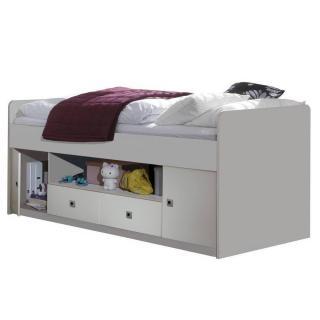 Lit compact 2 portes 2 tiroirs DORY 90 x 200 cm blanc