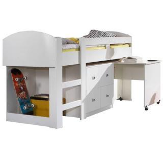 Lit compact bureau  DORY finition coloris blanc couchage 90/200 cm