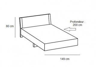 Lit design EVA  couchage 140 x 190 cm chêne blanchi rechampis graphite