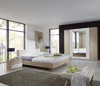 Lit design EVA  couchage 160 x 200 cm chêne clair rechampis blanc