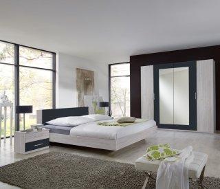 Lit design EVA  couchage 180 x 200 cm chêne blanchi rechampis graphite