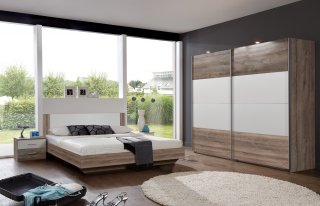 Lit design EVA  couchage 180 x 200 cm chêne châtaigne rechampis blanc