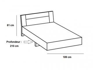 Lit design JANA 180 x 200 cm chêne châtaigne rechampis gris béton