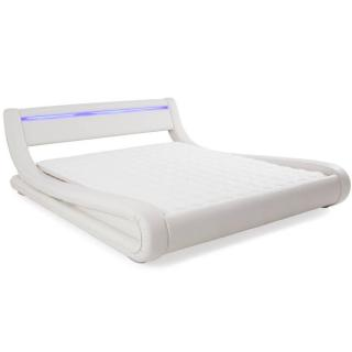 Lit design ELECTRA tissu enduit façon simlilicuir blanc couchage 140*190 cm bandeau led intégré
