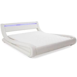 Lit design ELECTRA tissu enduit façon simlilicuir blanc couchage 160*200 cm bandeau led intégré