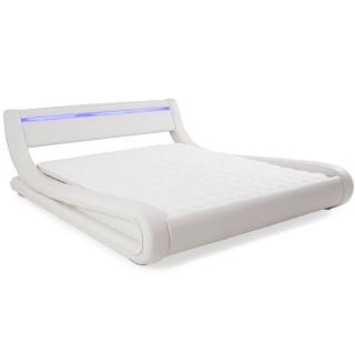 Lit design ELECTRON tissu enduit façon simlilicuir blanc couchage 140*190 cm bandeau led intégré