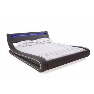 Lit design ELECTRON tissu enduit façon polyuréthane gris couchage 160*200 cm bandeau led intégré