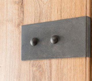 Lit style industriel VERNON 140 x 200 cm chêne poutre et graphite