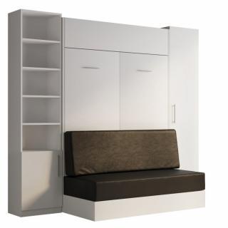 Composition lit escamotable blanc DYNAMO SOFA canapé intégré noir 140*200 cm L : 255 cm