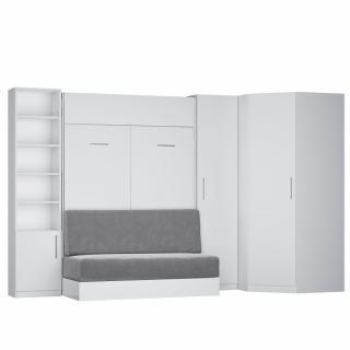 Composition lit escamotable blanc mat DYNAMO SOFA canapé intégré gris Couchage 140 x 200 cm 2 colonnes rangement + angle