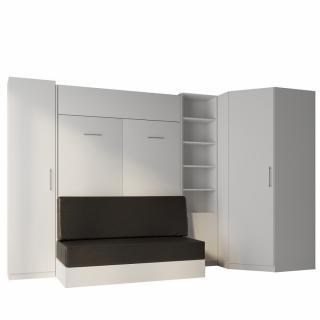 Composition angle lit escamotable blanc DYNAMO SOFA canapé noir 140*200 cm 351/100 cm