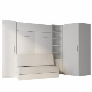 Composition angle lit escamotable blanc DYNAMO SOFA canapé blanc cassé 140*200 cm 355/100 cm