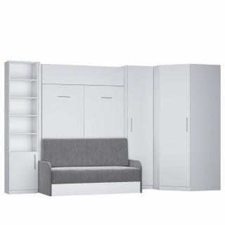 Composition lit escamotable blanc mat DYNAMO SOFA canapé + accoudoirs microfibre gris 2 colonnes + angle 140*200