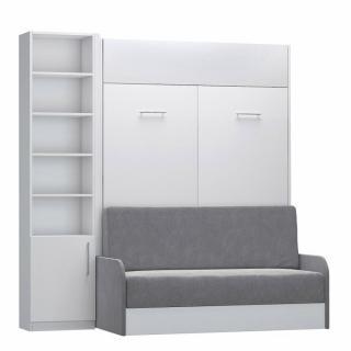 Composition lit escamotable blanc mat DYNAMO SOFA canapé + accoudoirs microfibre gris colonne bibliothèque 140*200