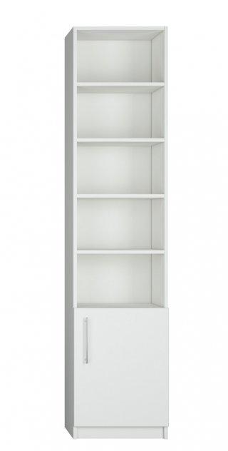 Composition lit escamotable blanc mat DYNAMO SOFA canapé accoudoirs blanc mat et gris colonne bibliothèque 140*200