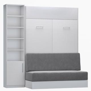 Composition lit escamotable blanc mat DYNAMO SOFA canapé intégré gris Couchage 140 x 200 cm colonne bibliothèque