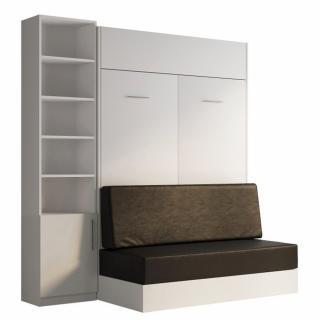 Composition lit escamotable blanc DYNAMO SOFA canapé intégré noir 140*200 cm L : 201 cm