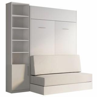 Composition lit escamotable blanc DYNAMO SOFA canapé intégré blanc cassé 140*200 cm L : 201 cm