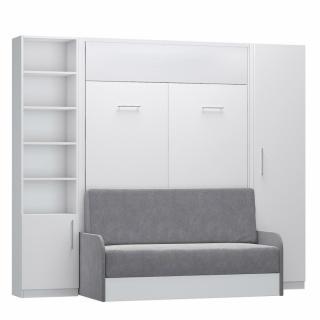 Composition lit escamotable blanc mat DYNAMO SOFA canapé + accoudoirs microfibre colonne armoire + bibliothèque 140*200