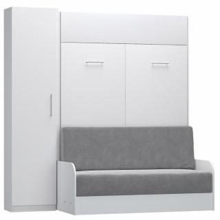 Composition lit escamotable blanc mat DYNAMO SOFA canapé accoudoirs blanc mat et gris colonne rangement 140*200