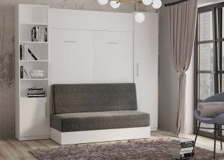 Composition lit escamotable blanc mat DYNAMO SOFA canapé intégré gris Couchage 140 x 200 cm colonne armoire + bibliothèque