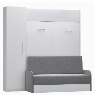 Composition lit escamotable blanc mat DYNAMO SOFA canapé + accoudoirs microfibre gris colonne rangement 140*200