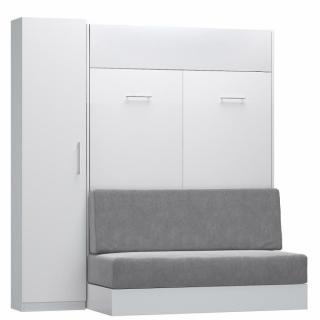 Composition lit escamotable blanc mat DYNAMO SOFA canapé intégré gris Couchage 140 x 200 cm colonne rangement