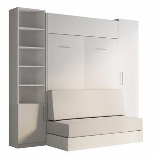 Composition lit escamotable blanc DYNAMO SOFA canapé intégré blanc cassé 140*200 cm L : 255 cm