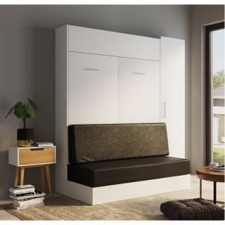 Composition lit escamotable rangement blanc DYNAMO SOFA canapé noir 140*200 cm L : 205 cm