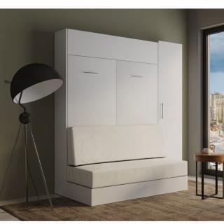 Composition lit escamotable rangement blanc DYNAMO SOFA canapé blanc cassé 140*200 cm L : 201 cm