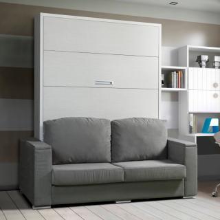 Armoire lit escamotable LYON, canapé intégré couchage 160*200 cm Profondeur 45 cm.