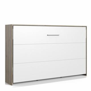 Lit escamotable horizontal VANIER décor chêne façade blanche couchage 120 x 200 cm