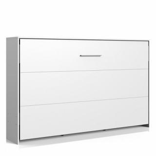 Lit escamotable horizontal VANIER blanc mat couchage 120 x 200 cm