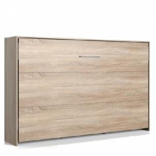 Lit escamotable horizontal VANIER décor chêne couchage 120 x 200 cm