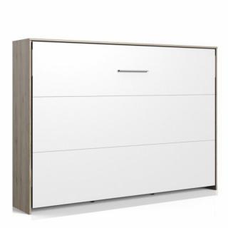 Lit escamotable horizontal VANIER décor chêne façade blanche couchage 140 x 200 cm