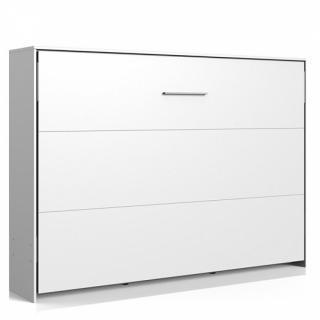 Lit escamotable horizontal VANIER blanc mat couchage 140 x 200 cm