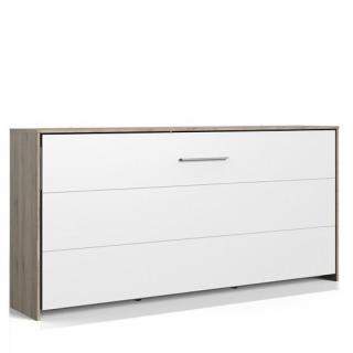 Lit escamotable horizontal VANIER décor chêne façade blanche couchage 90 x 200 cm