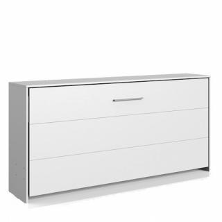 Lit escamotable horizontal VANIER blanc mat couchage 90 x 200 cm