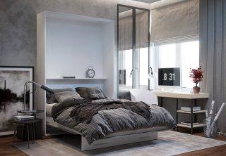Lit escamotable LOFT blanc façade gris béton couchage 140 x 200 cm