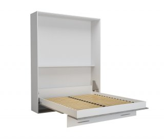 Lit escamotable LOFT blanc façade gris béton couchage 160 x 200 cm