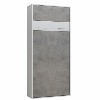 Lit escamotable LOFT blanc façade gris béton couchage 90 x 200 cm