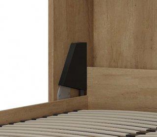 Lit escamotable style industriel TEKNO chêne bandeau et ferrures noir mat 90 x 200 cm