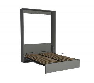 Lit escamotable DYNAMO gris mat ouverture assistée et pied automatique, couchage 140*200 cm