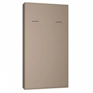 Armoire lit escamotable SMART-KART taupe mat couchage 90 * 200cm