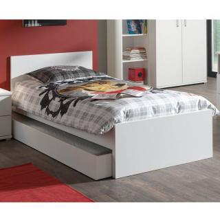 Lit gigogne AYA blanc mat couchage 90 x 200cm