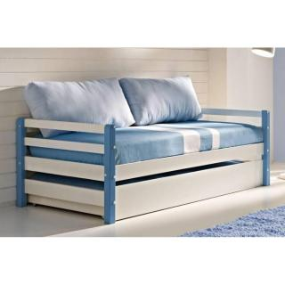 Lit gigogne COMETE en pin massif bleu et blanc, couchage 190 x 90