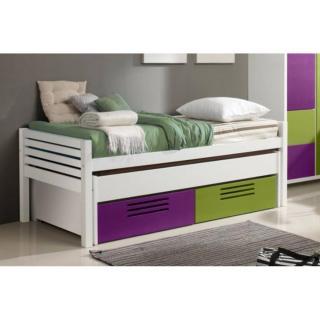 Lit gigogne double MARLONE violet et vert avec 2 tiroirs, couchage 190 x 90